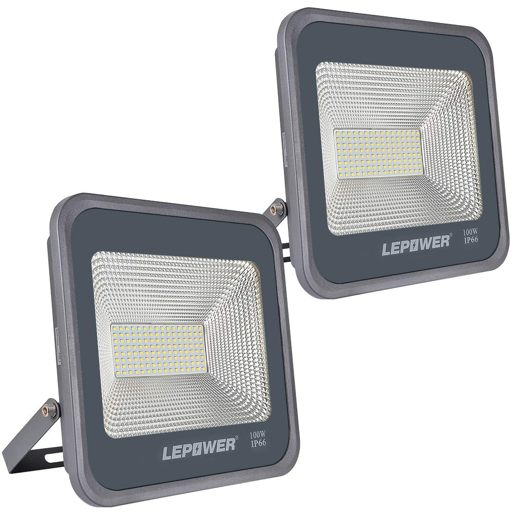 LEPOWER 2 Pack 100W LED Flood Light, 10000lm Super Bright Work Light with Plug, 6000K White Light, IP66 Waterproof Outdoor Floodlight for Garage, Garden, Lawn,Basketball Court,Playground by LEPOWER (Image #1)
