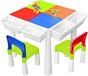 YMINA 6 in 1 Multi Kids Activity Play Table Set Building Block Table with 2 Chairs 300 PCS Large Playset Compatible Building Blocks Arts Crafts Table Water Table Outdoor Play Sand Table (20in Classic)