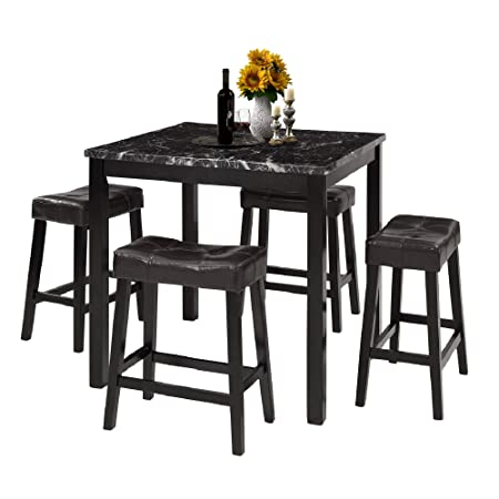 LZ LEISURE ZONE 5-Piece Dining Table Set Kitchen Wooden Top Counter Height Dining Set with 4 Leather-Upholstered Stools Marble
