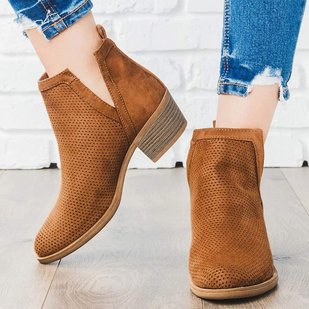 Padaleks Ankle Boots Womens Round Toe Low Chunky Heel Rome Shoes Large Size Zipper Hollow Out Party Short Booties