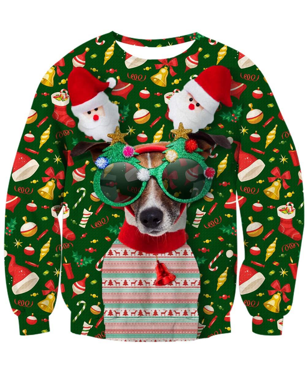 NEWISTAR Jungen Weihnachtpullover 3D Weihnachten Hund Gedruckt Pullover Damen Weihnachten Jumper Tops Sweatshirts Bluse M