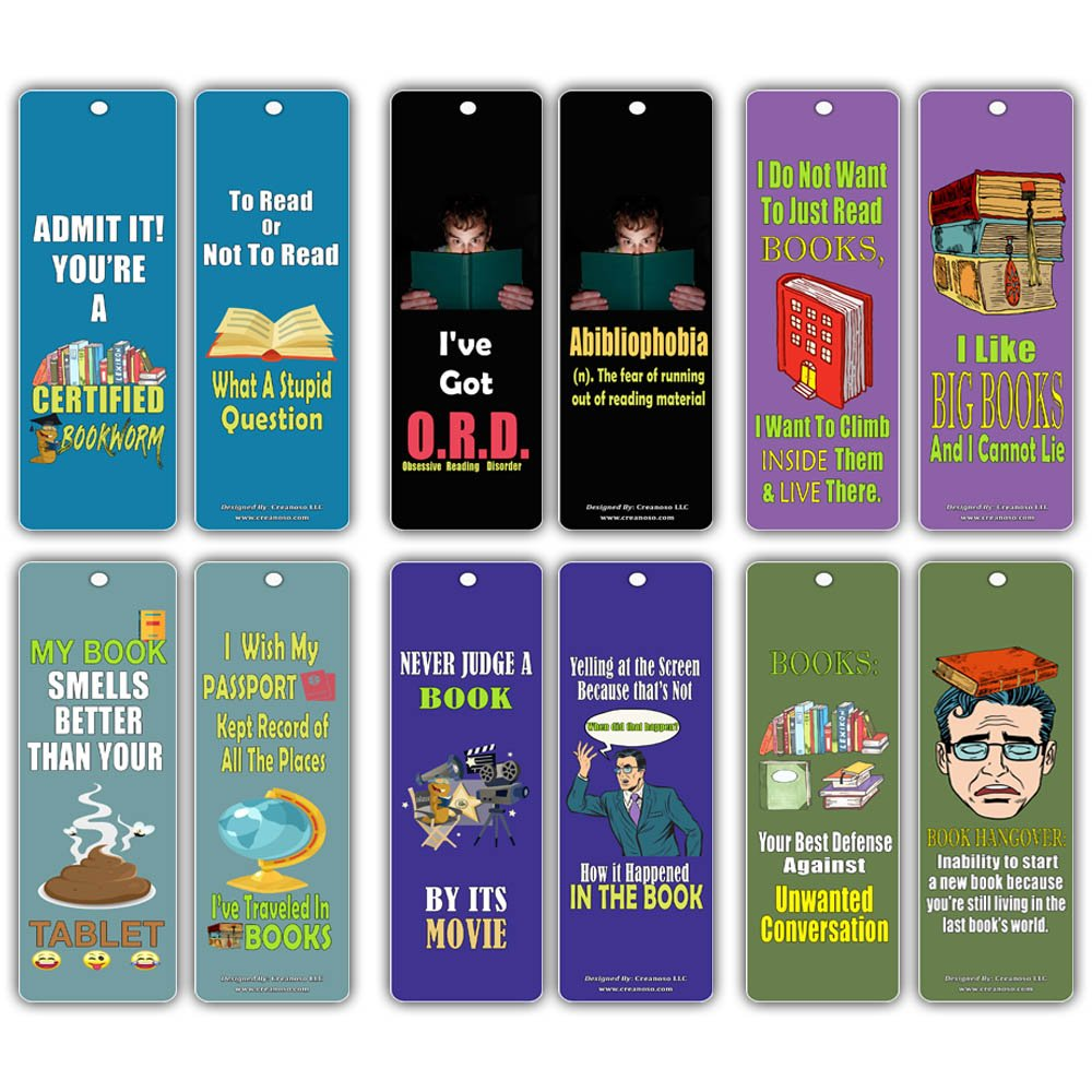 Creanoso Silly Hilarious Literary Bookmarks (60-Pack) – Insanely Funny and Inspiring Bookmarker Cards - Excellent School Teacher Classroom Rewards for Young Readers - Incentive Gifts for Bibliophiles by Creanoso (Image #8)