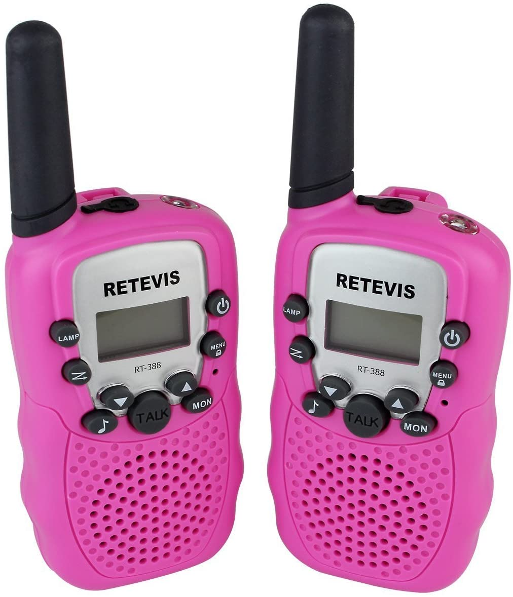 DOLIROX Kids Children Mini Hand Held Walkie Talkie Set Wireless 2-Way Radio Intercom Interphone with LCD Display and LED Flashing Light Pack of 2 Pink