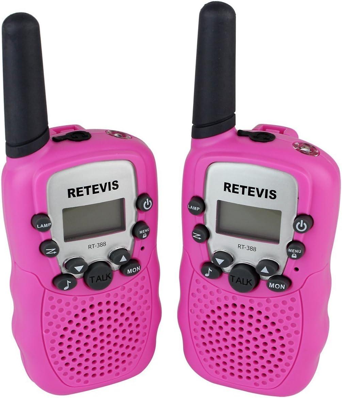 DOLIROX Kids Children Mini Hand Held Walkie Talkie Set Wireless 2-Way Radio Intercom Interphone with LCD Display and LED Flashing Light Pack of 2 Pink