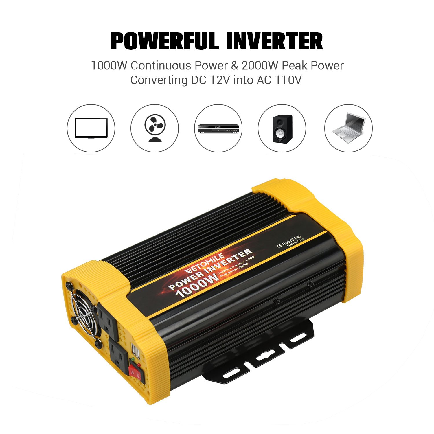 Vetomile 1000w Power Inverter Dc 12v To 110v Ac Car With 21a Dual Usb Adapter In 01 Inverters Automotive Tibs