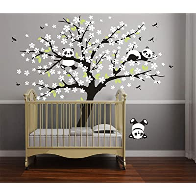 LUCKKYY Three Playful Pandas Bear on Cherry Blossom Tree Wall Decal Tree Wall Sticker Nursery and Children's Room (White): Home & Kitchen