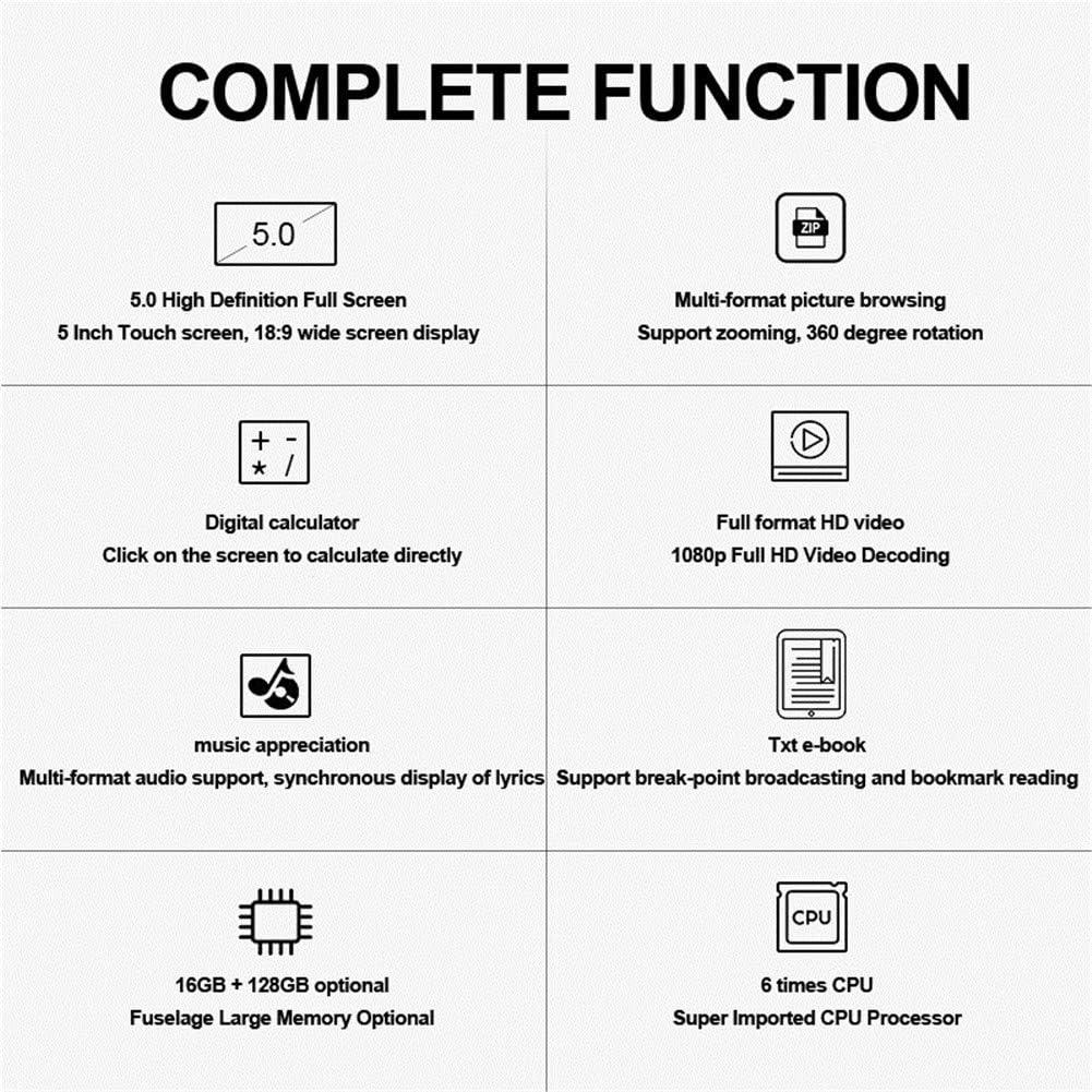 Formato Completo de reproducci/ón de v/ídeo 1200Mah Grande Walkman MP3 bater/ía port/átil t/áctil mp5 ZZ Lossless Reproductor de m/úsica MP6 WZHESS Pantalla Completa Reproductor de MP4