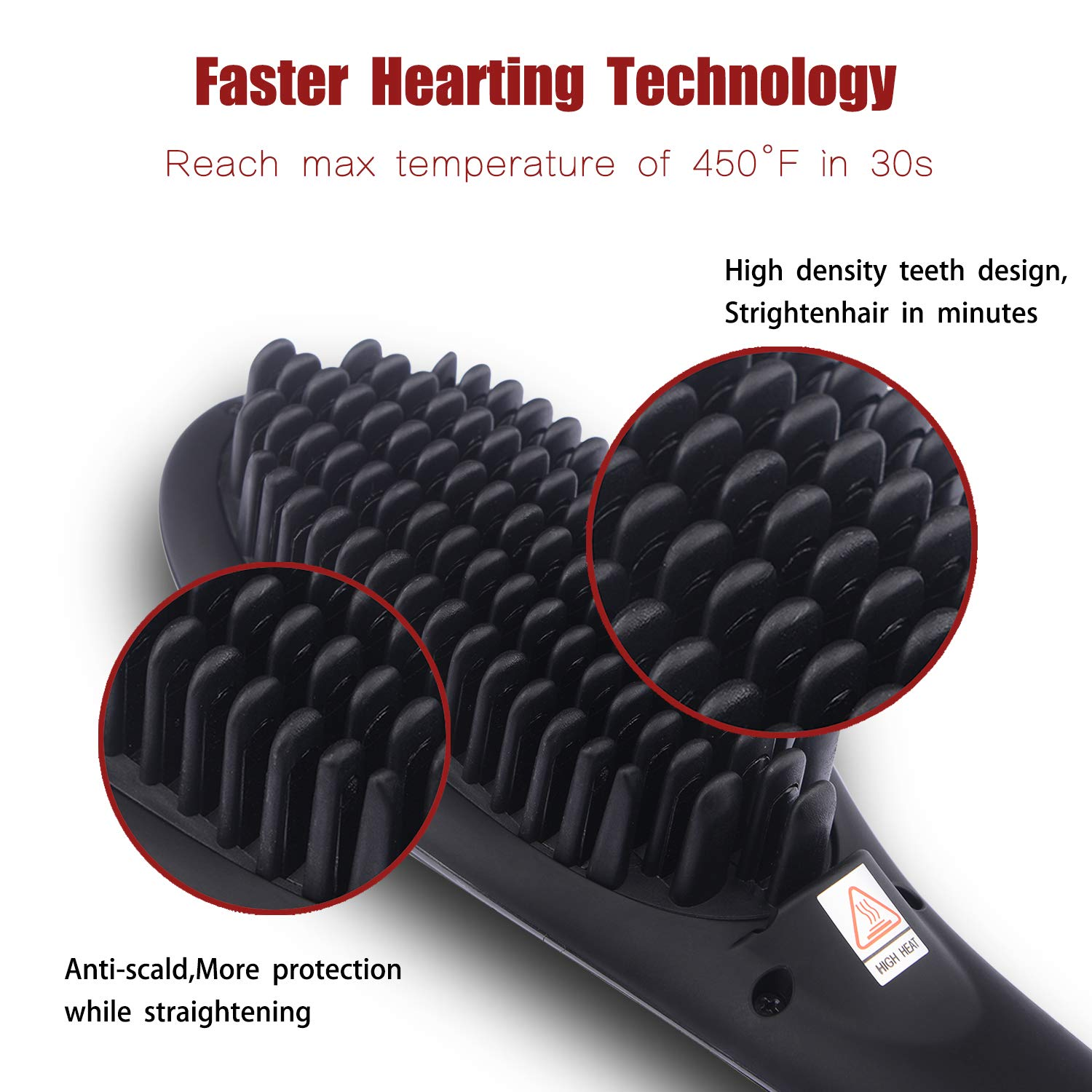 Ceramic Hair Straightening Brush with Anti-Scald, BESTBOMG Ionic Hair Straightener Brush Iron for Silky Frizz Free Hair Auto Temperature Lock and Auto-off Function for All Hair Types
