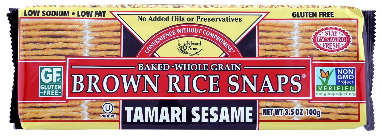 Brown Rice Snaps, Tamari Sesame, 3.5-Ounce Packs (Pack of 12)