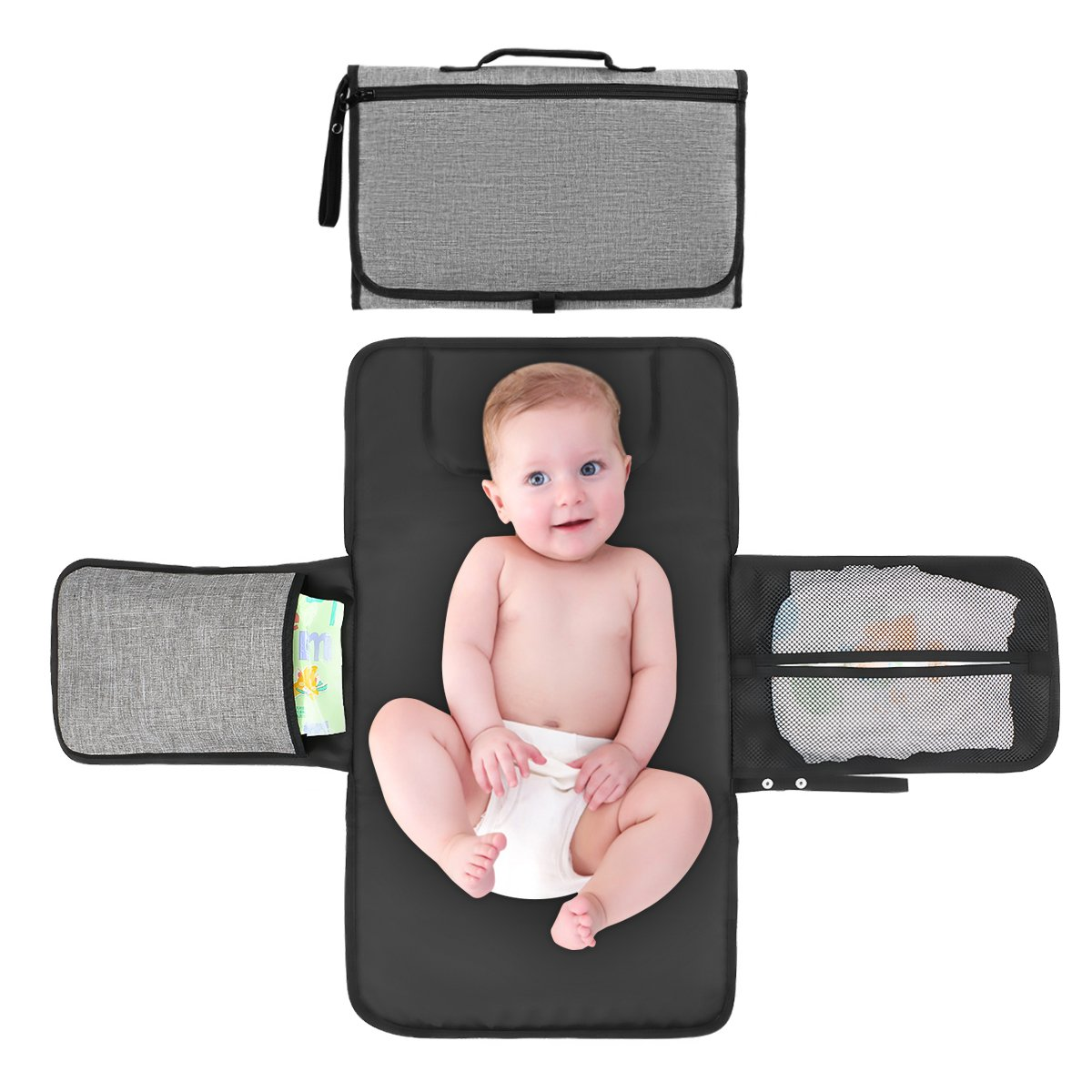 Limerenc Baby Portable Changing Station with Head Cushion and Three Pockets,Waterproof Foldable Portable Diaper Pad Kit,Lightweight Travel Home Diaper Changer Mat for Newborn Baby Infant