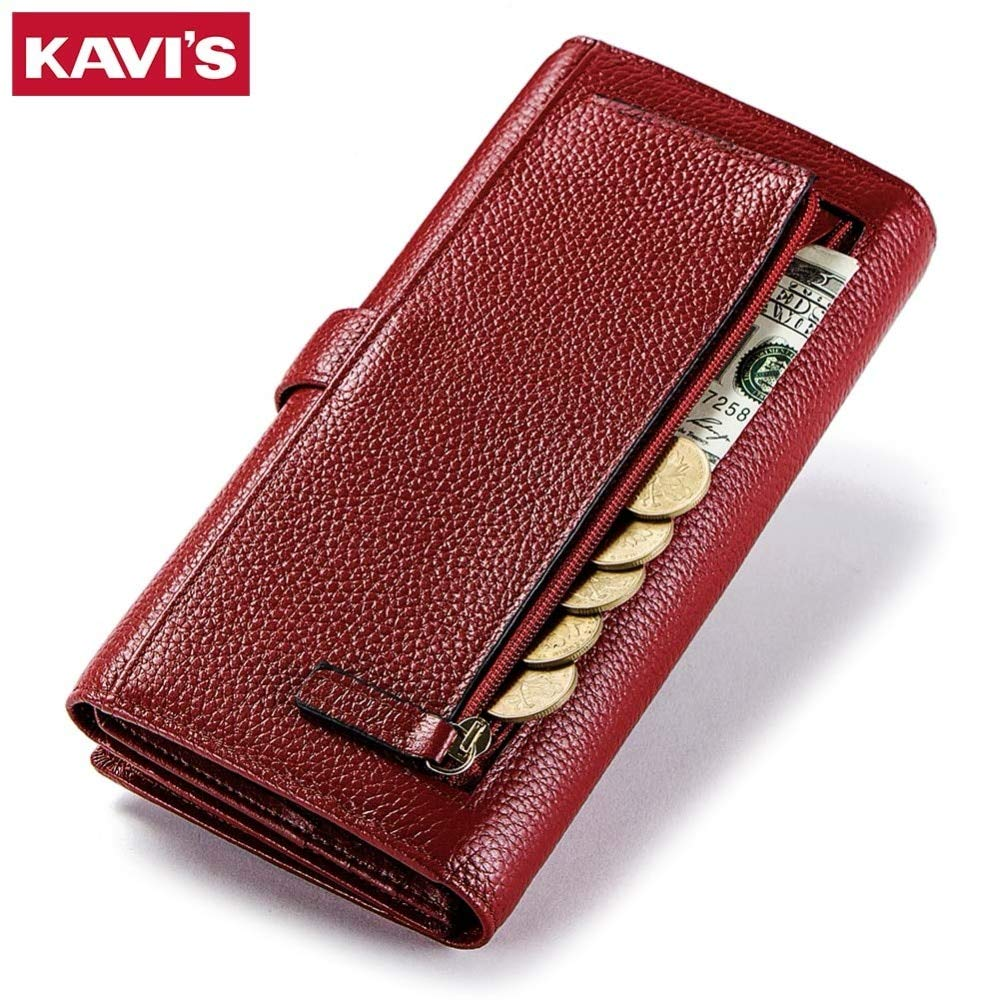 by VNUS93 Rfid Genuine Leather Women Wallet Female and Purses Red Color Long Clutch Lady Walet Portomonee Fashion Money Bag Handy Wallets