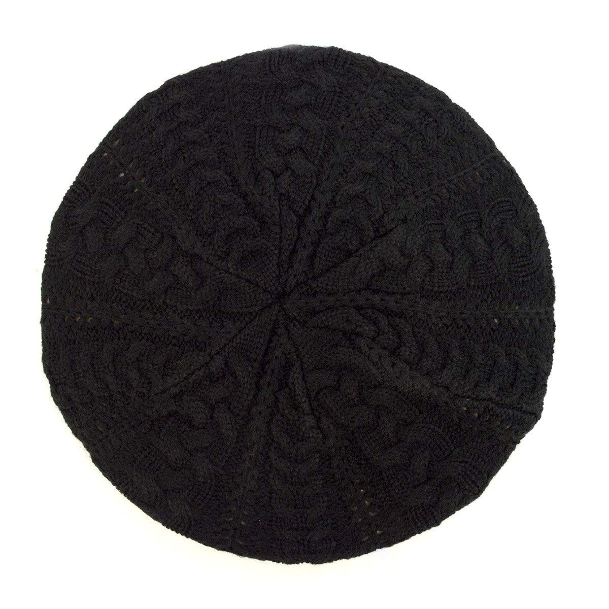 Black Women's Ladies Solid color Knitted Knit French Slouchy Beret Hat Cap
