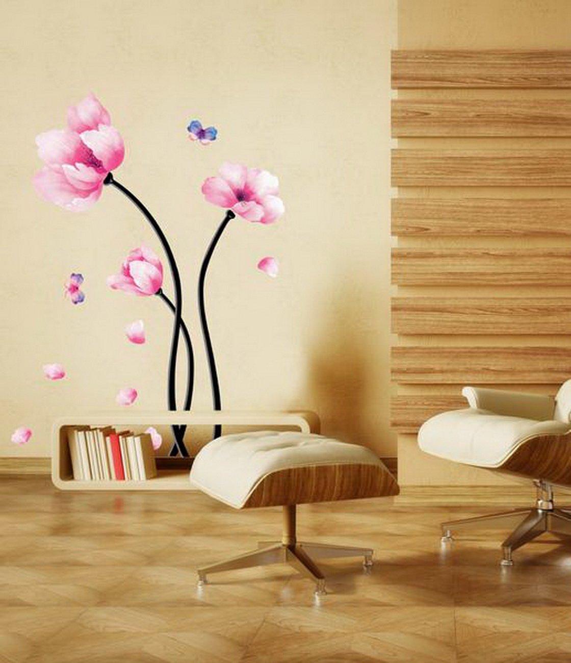 amazon com pink magnolia flowers wall stickers diy mural art amazon com pink magnolia flowers wall stickers diy mural art decal self adhesive removable pvc wallpaper decor 19 7 inch 27 6 inch original home kitchen