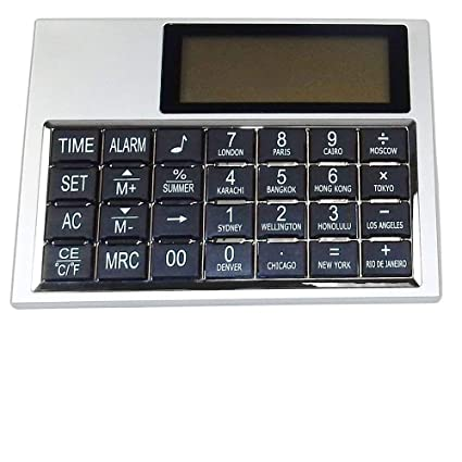 Amazon Com Desk Clock Multi Function Calculator With World Time