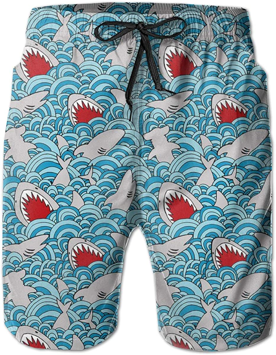 Quick Dry Men's Beach Shorts Blue Shark Mesh Lining Surfing Board Shorts Swim Trunks with Pockets