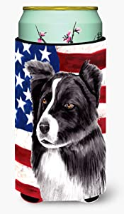 Caroline's Treasures SC9009TBC USA American Flag with Border Collie Tall Boy Beverage Insulator Beverage Insulator Hugger, Tall Boy, multicolor