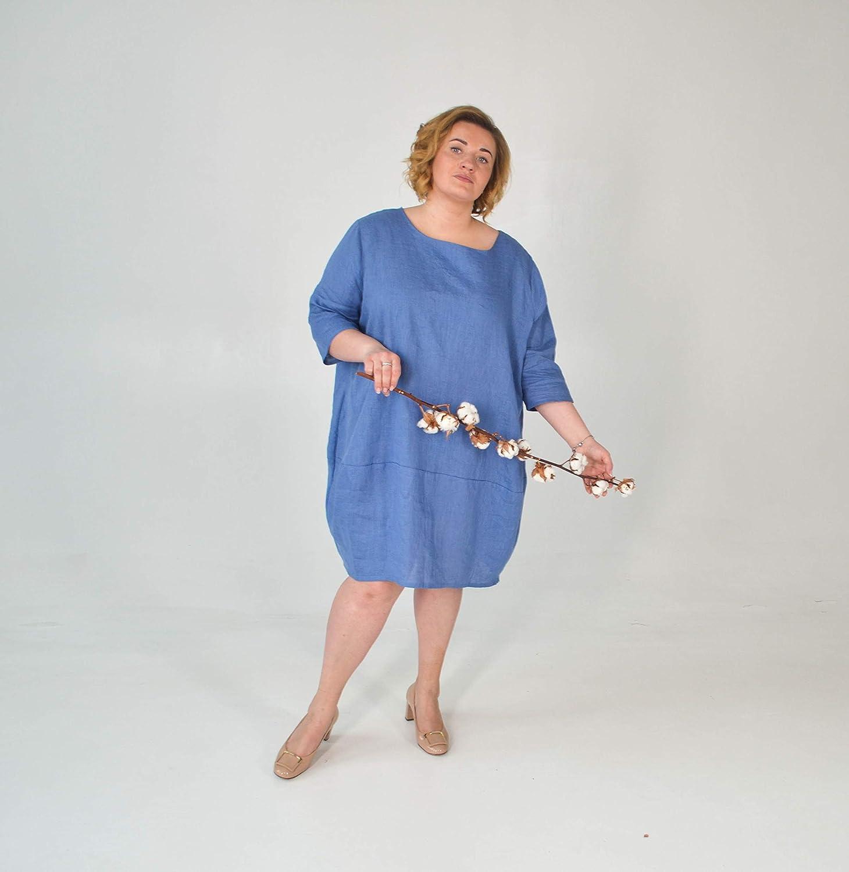 Amazon.com: Balloon Linen Dress - Plus Size Tunic Dress ...