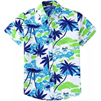 EElabper Camisa hawaiana de manga corta con botones para hombre