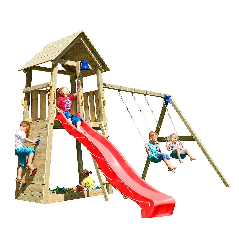 Blue Rabbit 2.0 Spielturm BELVEDERE mit Rutsche 2,30 m oder 2,90 m inkl. Wasseranschluss, Kletterwand mit Klettersteinen, Doppelschaukel - Kletterturm, Stelzenhaus, Spielhaus Kiefer imprägniert (Podesthöhe 1,50 m, Rot)