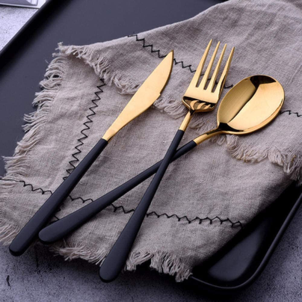 3pcs/lot Gold Portable Cutlery Stainless Steel Table Knife S Poon Fork Set Korean Food Travel Camping Dinnerware Tableware Sets@Black Gold