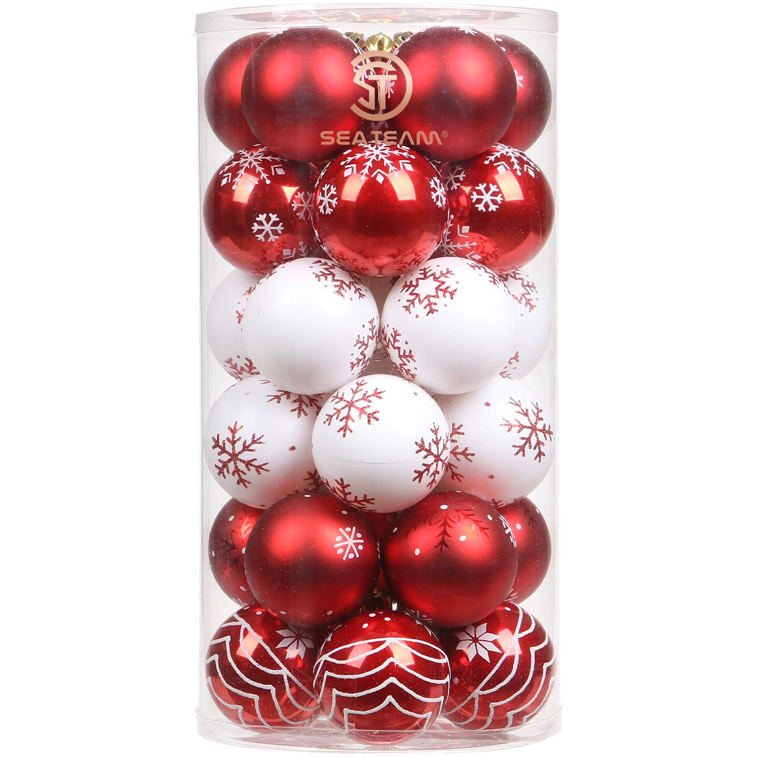 """Sea Team 60mm/2.36"""" Delicate Contrast Color Theme Painting & Glittering Christmas Tree Pendants Decorative Hanging Christmas Baubles Balls Ornaments Set - 30 Pieces (Red & White)"""