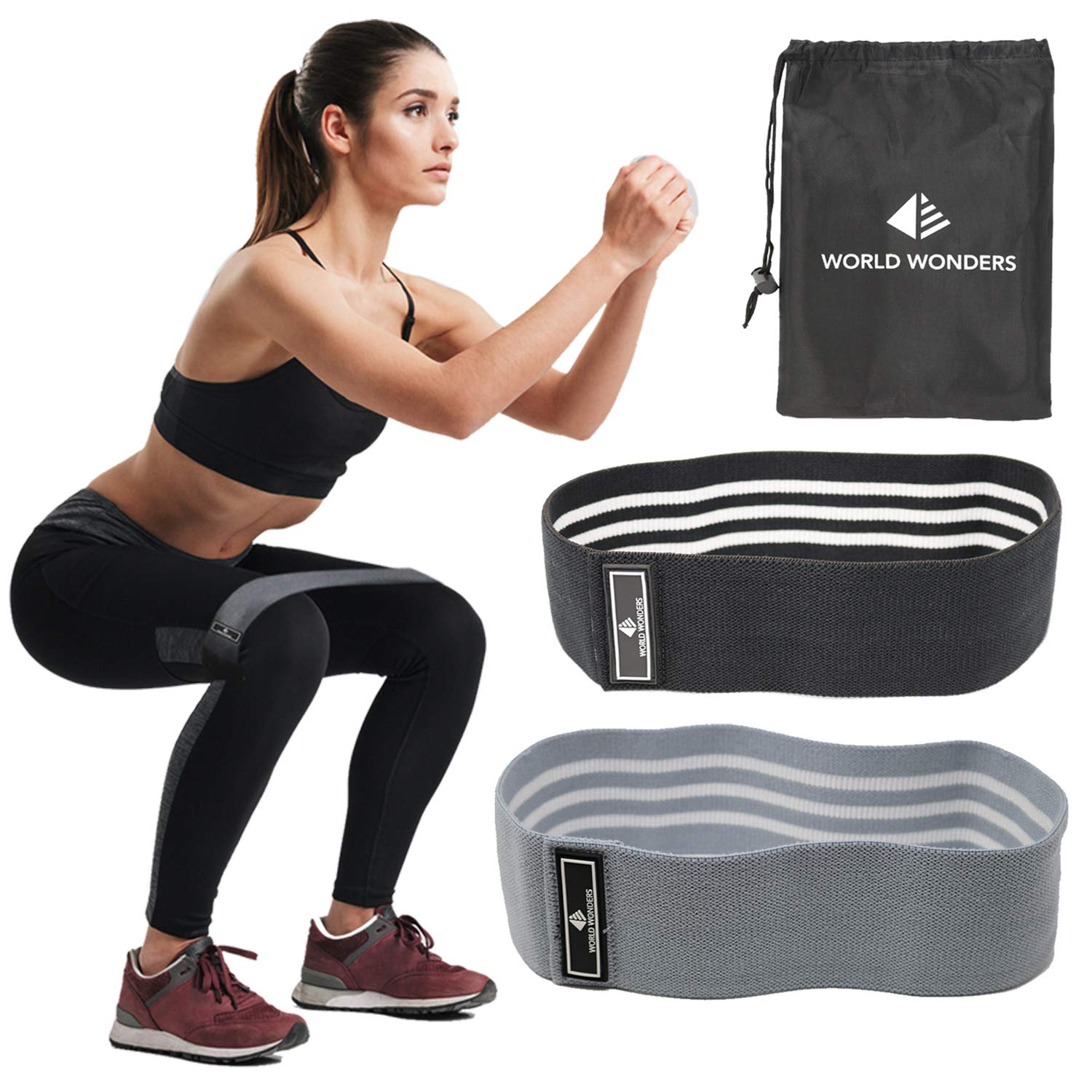 World Wonders Hip Circle Resistance Bands (Set of 2) With Carry Bag | Thick Non Slip Band for Mobility, Stretching and Workout Warmups | Loop Bands Ideal for Abductors, Legs and Booty Exercises