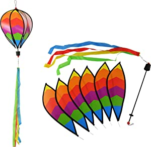 Home-X Hot Air Balloon Garden Spinner, Decorative Rainbow Wind Flag for Pride, Easter