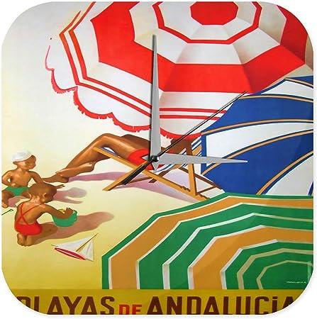Reloj De Pared Viaje Por El Mundo España Andalucía niños playa de arena sombrilla Tumbona Plexiglas: Amazon.es: Hogar