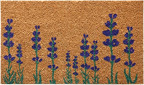 Rubber-Cal Purple English Lavender Flower Doormat, 18 x 30