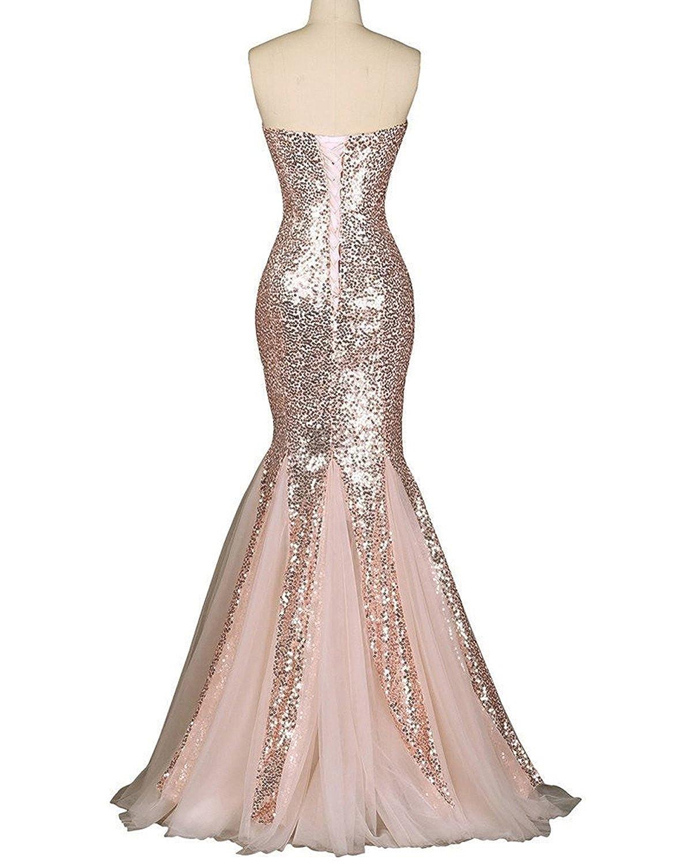 Amazon.com: OYISHA Womens Sweetheart Mermaid Prom Dresses Sequined ...