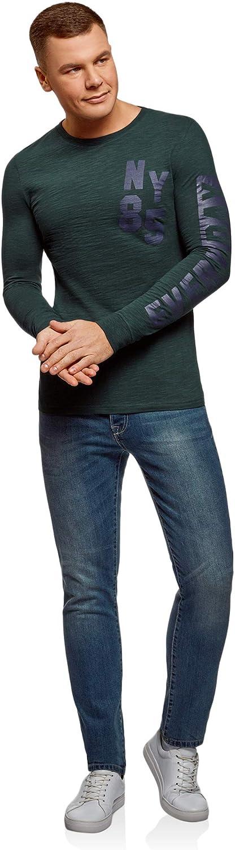 oodji Ultra Homme T-Shirt en Coton avec Manches Longues