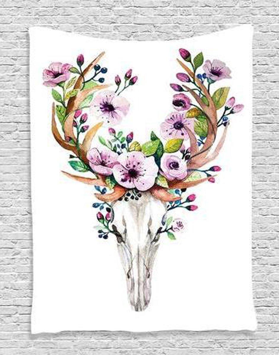 Skulls Decorations Collection, Deer Animal Skull with Floral Horns Nature Inspired Dead and Living Art Print, Bedroom Living Room Dorm Wall Hanging Tapestry (148200cm, Deer)