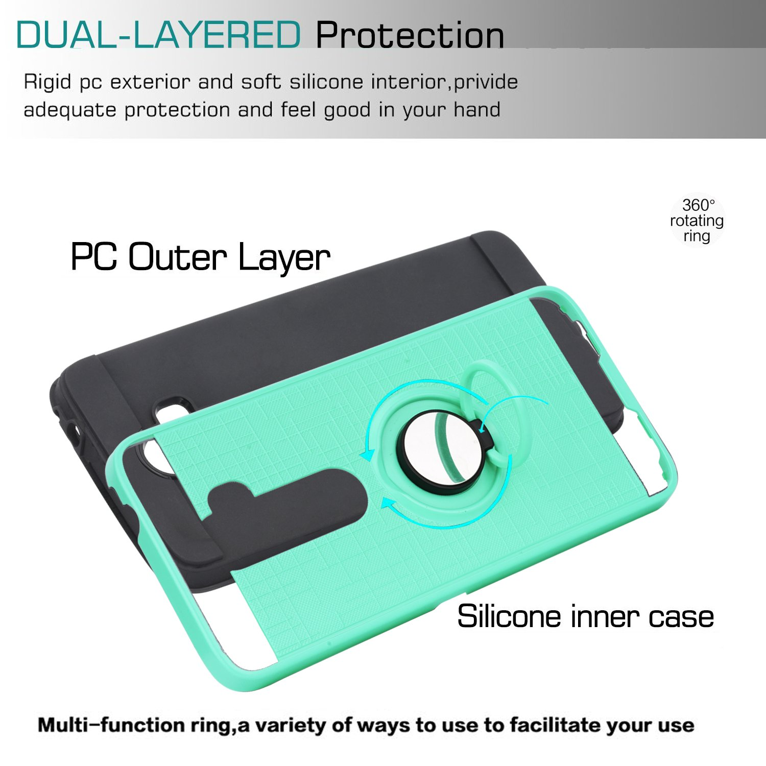 Alcatel 3V Phone Case with HD Phone Screen Protector,Ymhxcy 360 Degree Rotating Ring & Bracket Dual Layer Resistant Back Cover for Alcatel 3V-ZH Mint