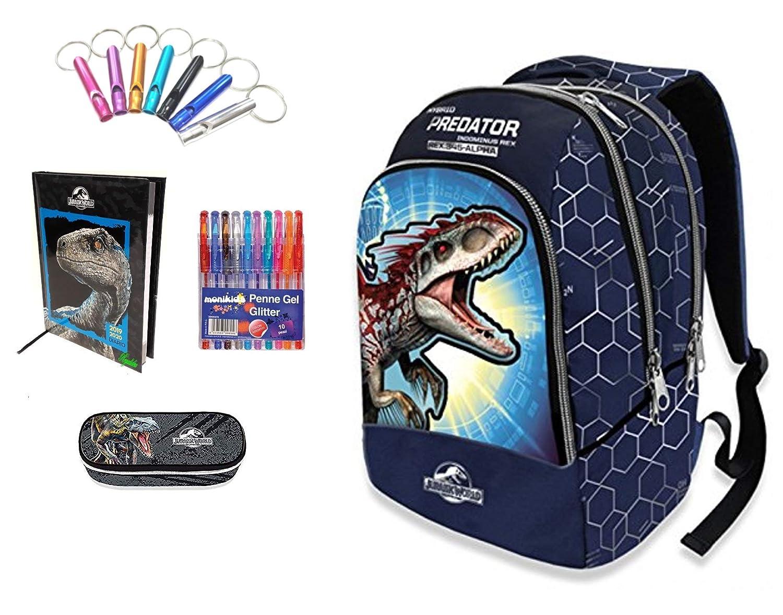 Jurassic world. Mochila Escolar Doble Azul + Estuche con ...