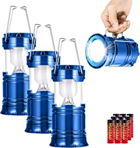 3 Pack LED Camping Lantern, Super Bright Portable Survival Lanterns, Must Have During Hurricane, Emergency, Storms, Outages, Original Collapsible Camping Lights/Lamp (Incl. Batteries) (Blue)