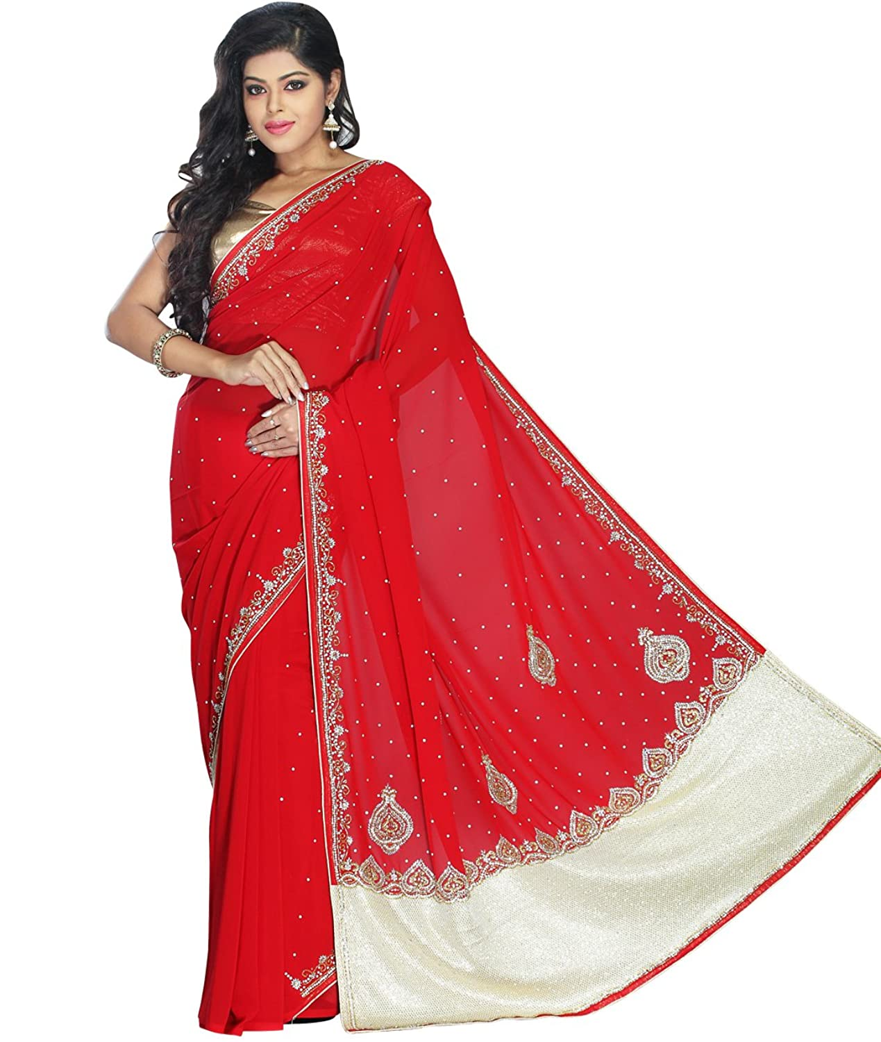 Indian Ethnic Faux Georgette Red Designer Saree