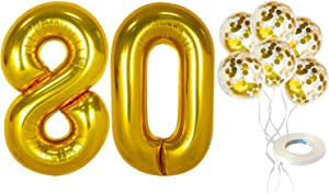 Number 80 and Gold Confetti Balloons - 80th Birthday Decorations | Large, 40 Inch Foil Gold Balloons | 5 Gold Confetti Balloons, 12 Inch | 80 Birthday Decorations for Party Supplies and Anniversary