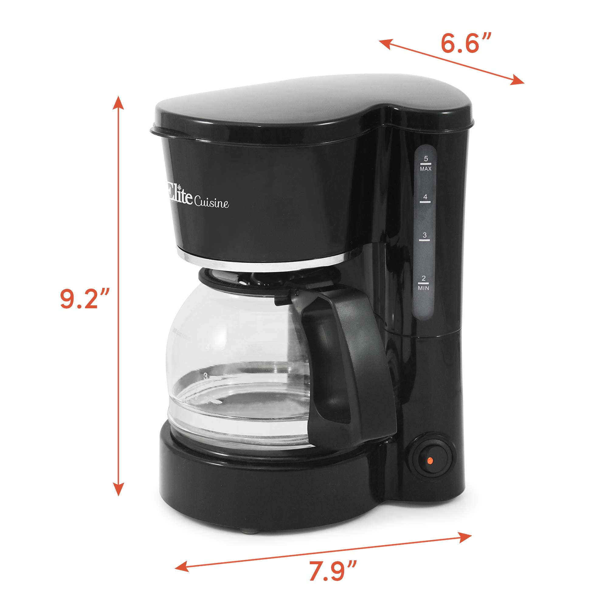 Elite Cuisine EHC-5055 Automatic Brew & Drip Coffee Maker with Pause N Serve Reusable Filter, On/Off Switch, Water Level Indicator, 5 Cup Capacity, Black by Maxi-Matic (Image #7)