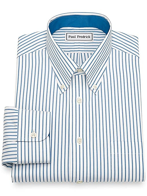 1930s Style Mens Shirts Paul Fredrick Mens Non-Iron Cotton Stripe Dress Shirt  AT vintagedancer.com
