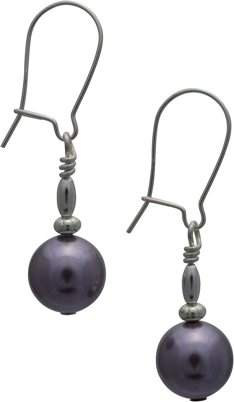 Malva morado perlas de cristal de Swarovski Plata de Ley Pendientes De Gota Con Caja de regalo