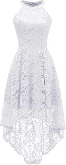 TALLA XL. Dressystar Rockabilly Vestido de cóctel para Mujer, asimétrico de Encaje Blanco XL