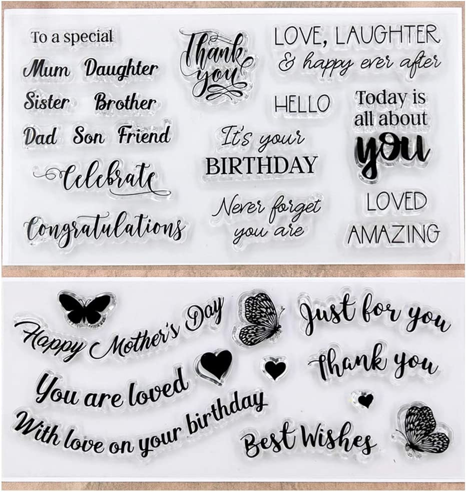 Kwan Crafts Word Happy fathers day Mothers day happy birthday get well soon Clear Stamps for Card Making Decoration and DIY Scrapbooking