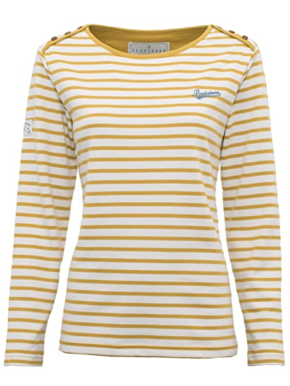 cd3e863e500b3 Brakeburn Ladies Cotton Blend Mustard Stripe Button Shoulder Long Sleeve  Top Mustard 8