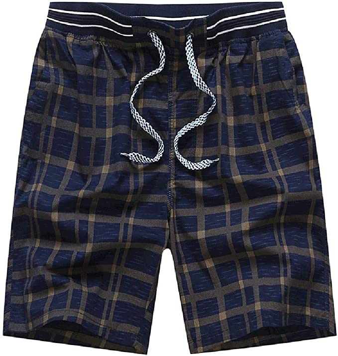 Mens Swim Trunks Square Plaid Scottish Pattern White Black Drawstring Boardshorts