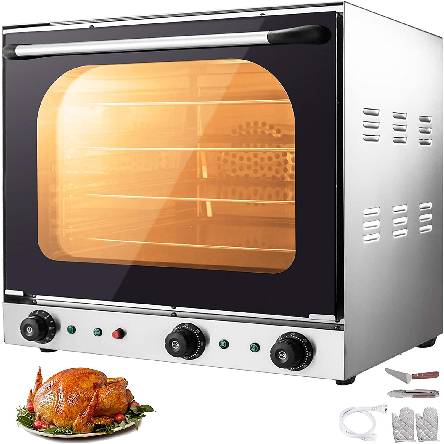 VBENLEM 110V Commercial Convection Oven 60L/2.12 Cu.ft Capacity 2600W Electric Toaster Oven 50-350℃ Multifunction Oven 4-Tier with Spray Function Perfect for Roasting Baking Drying Steaming Defrosting
