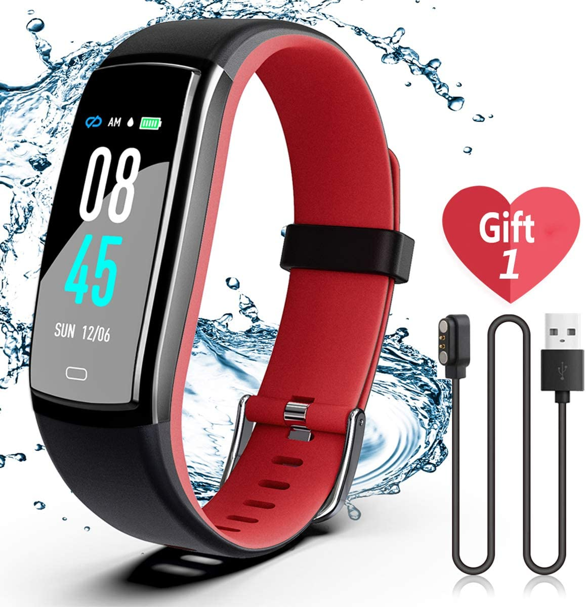 SIKADEER Fitness Tracker, Activity Tracker Watch with Blood Pressure Heart Rate Monitor, IP68 Waterproof Smart Watch with Step Counter, Calorie Counter, Sleep Monitor, Call & SMS