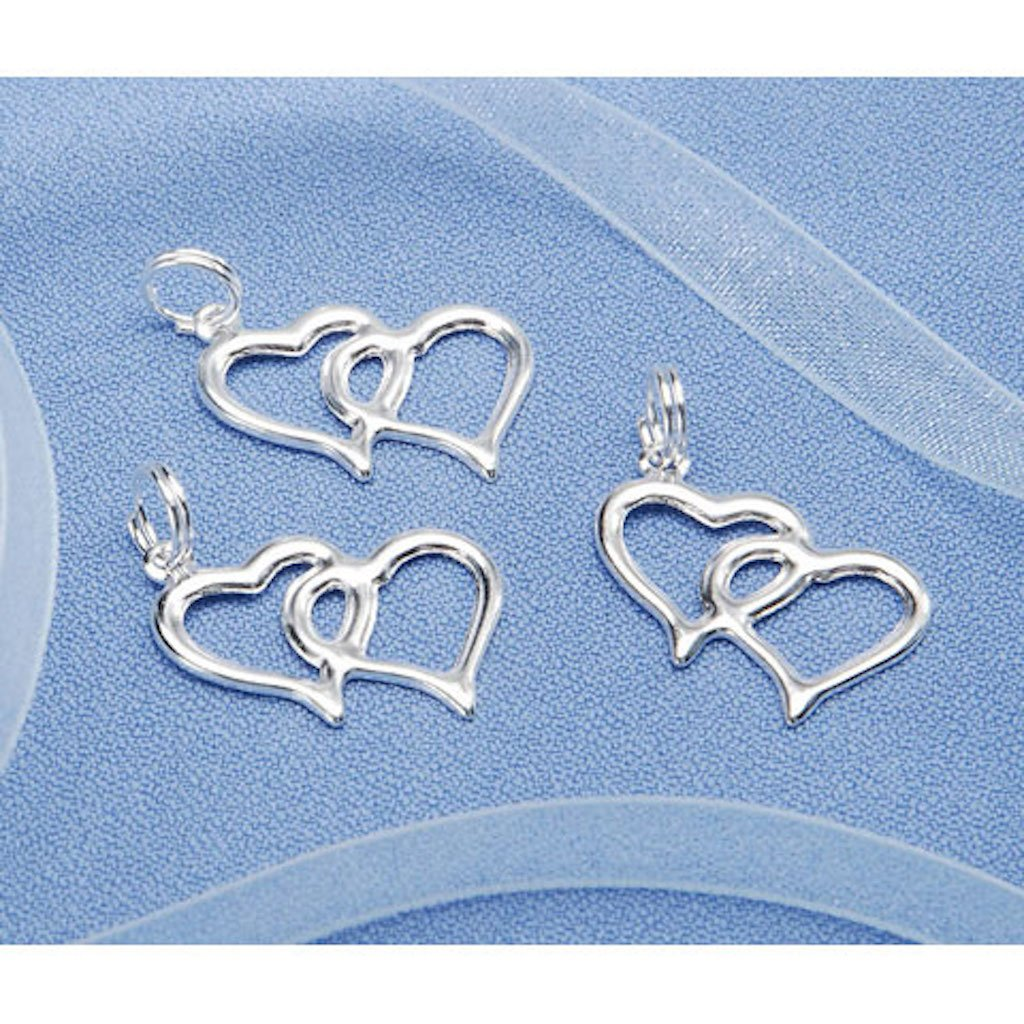 Amazon 200 Double Heart Charms Charm For Wedding Favors Or