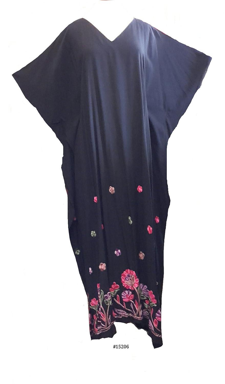 (15206 Black) Ladies 100% Cotton Woven Border Embroidery Long Kaftan (Satin Label). One Size