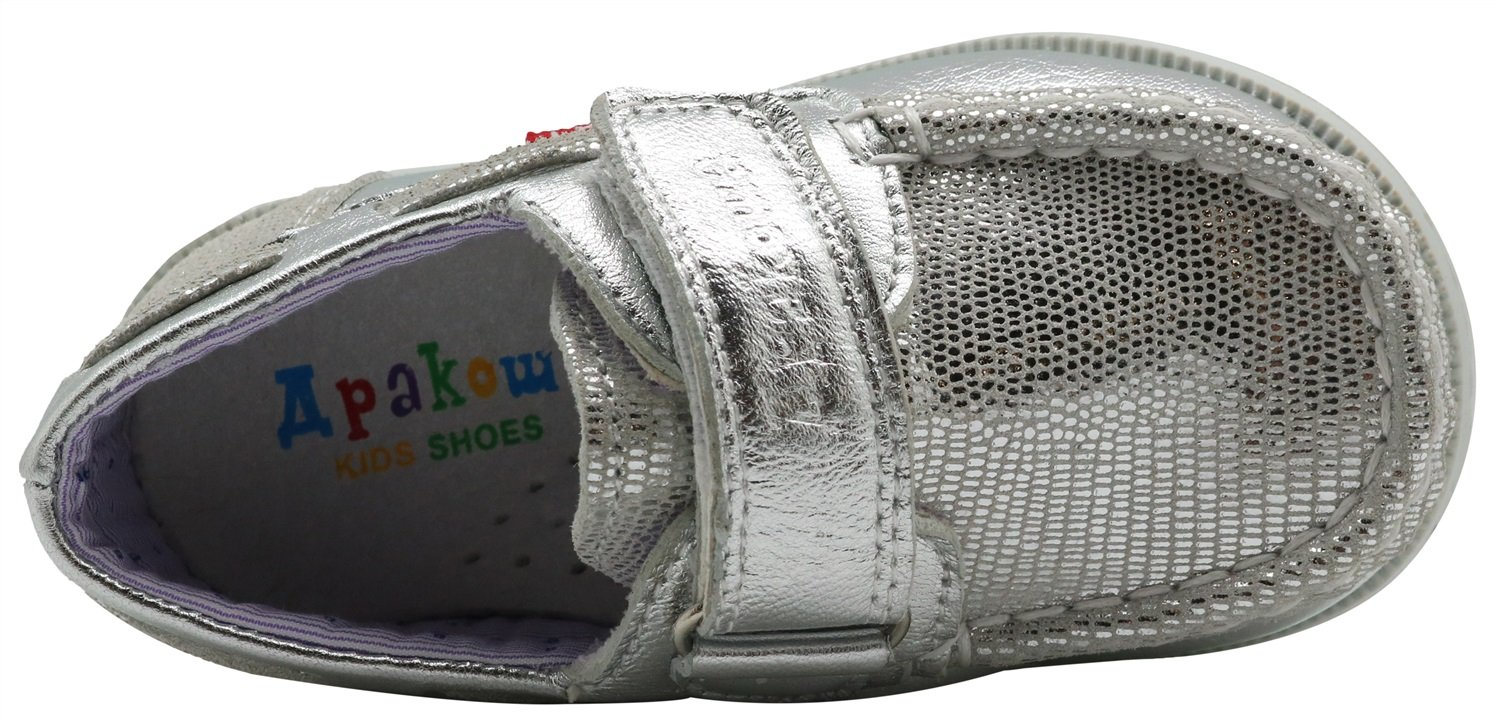 Non-Slip Kids Toddler Girls Leather Casual Sneaker Shoes Loafers Boat Shoes Durable Color : Silver , Size : 4 M US Toddler