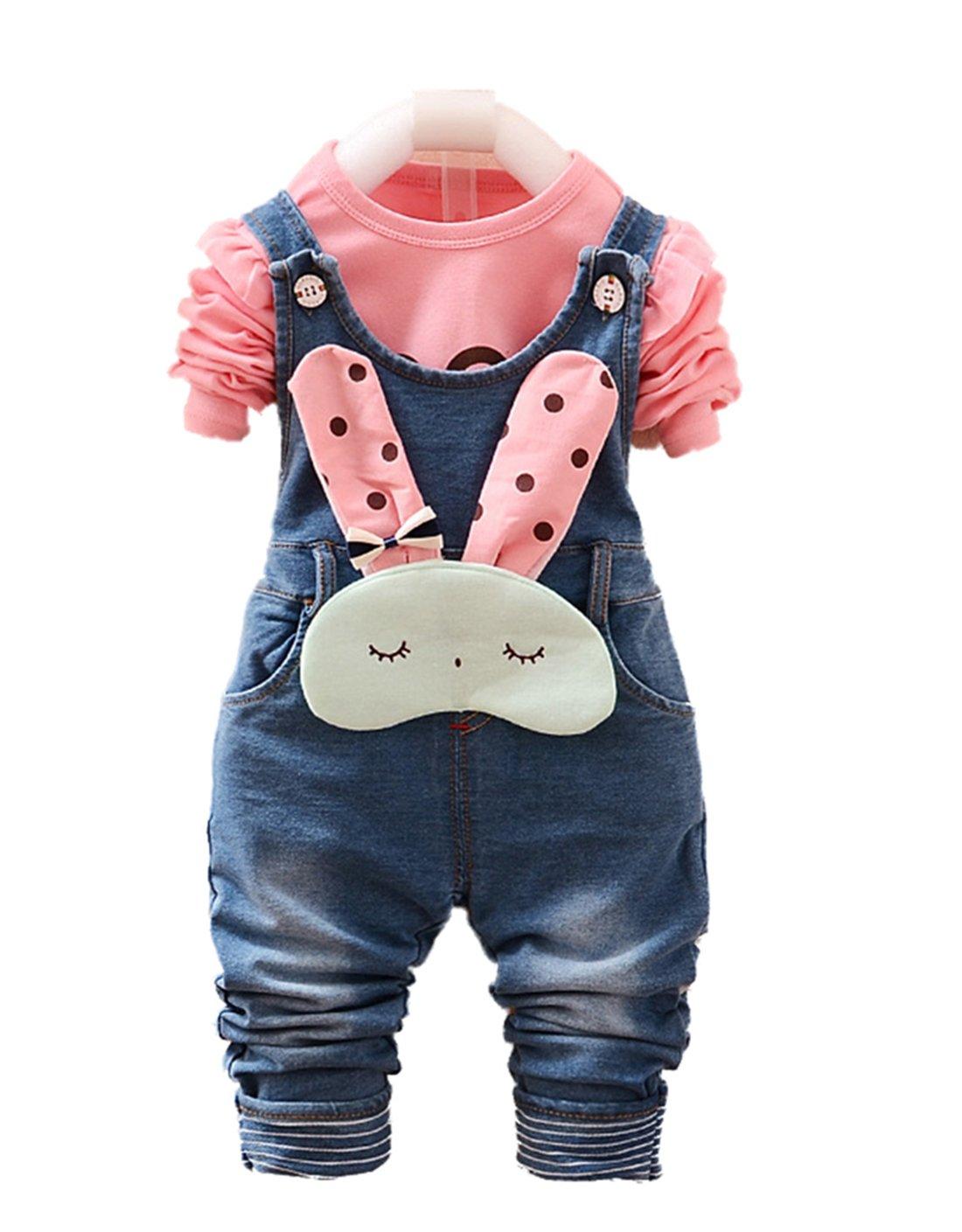 Chumhey Baby & Little Girls Blue Denim Overalls Pant Sets Bunny Decor